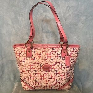 Pink and Cream Coach Bag